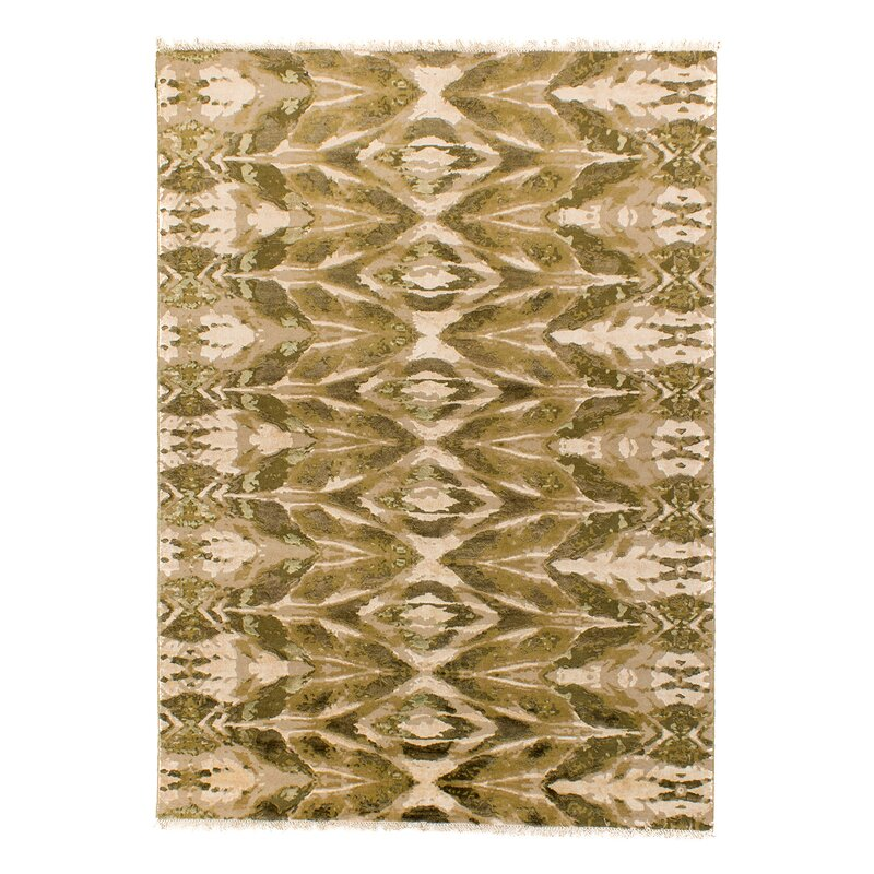Solo Rugs Grit And Ground Abstract Hand Knotted Wool Green Area Rug Wayfair