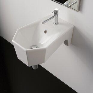 Best Price Bijoux Ceramic 13 Wall Mount Bathroom Sink with Overflow ByScarabeo by Nameeks