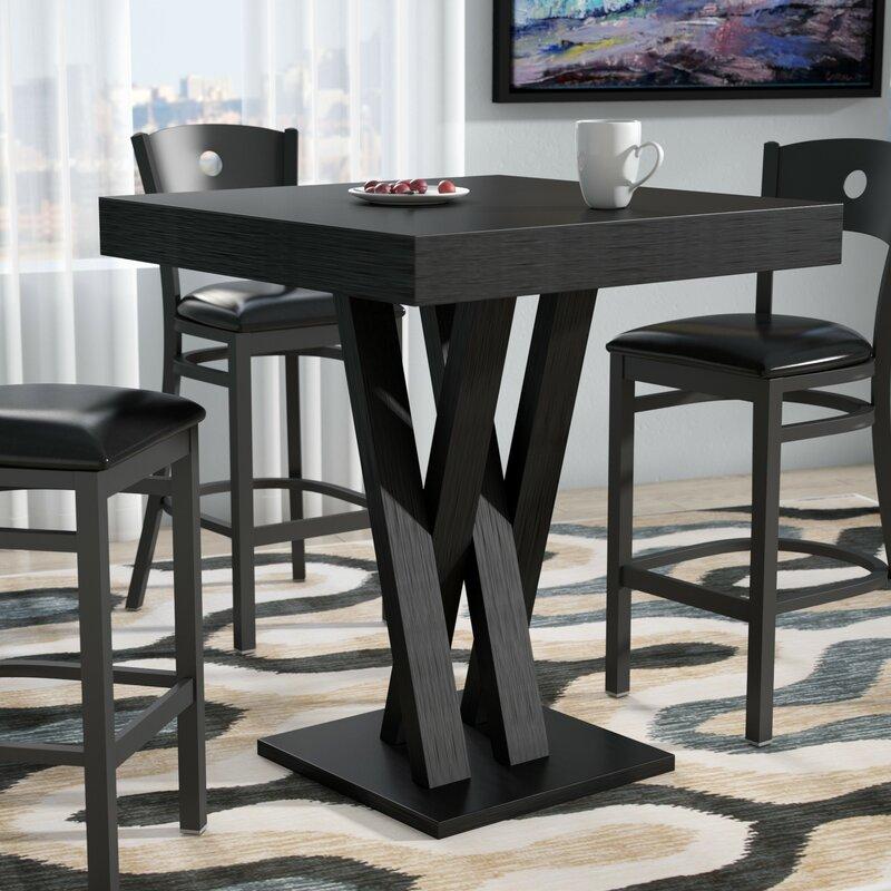 zipcode design hodder bar height solid wood dining table reviews rh wayfair com bar height kitchen table with storage small kitchen table bar height