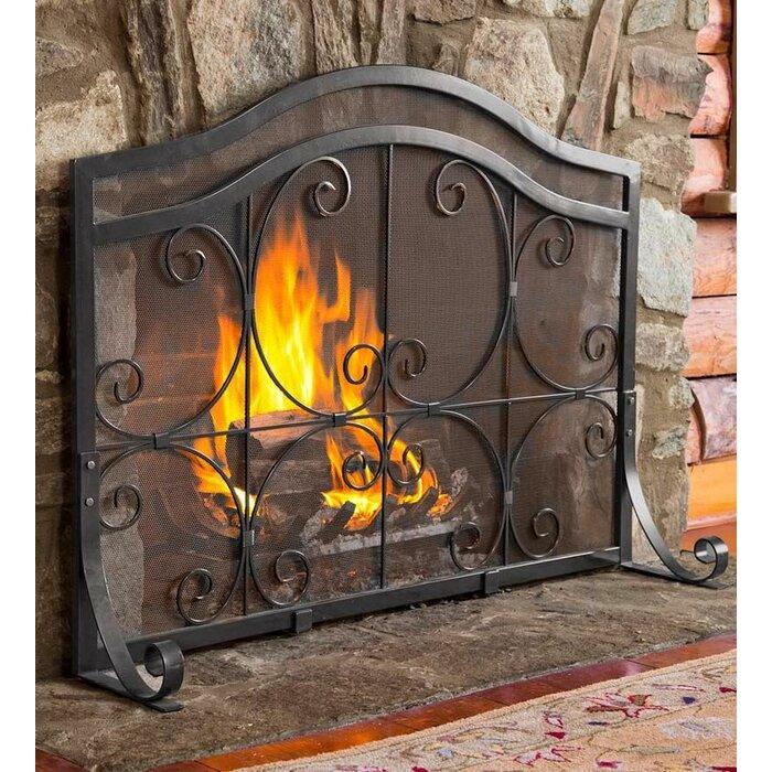 Astonishing Plow Hearth Single Panel Iron Fireplace Screen Home Remodeling Inspirations Genioncuboardxyz
