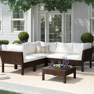 Ricci 6 Piece Rattan Sectional Seating Group with Cushions
