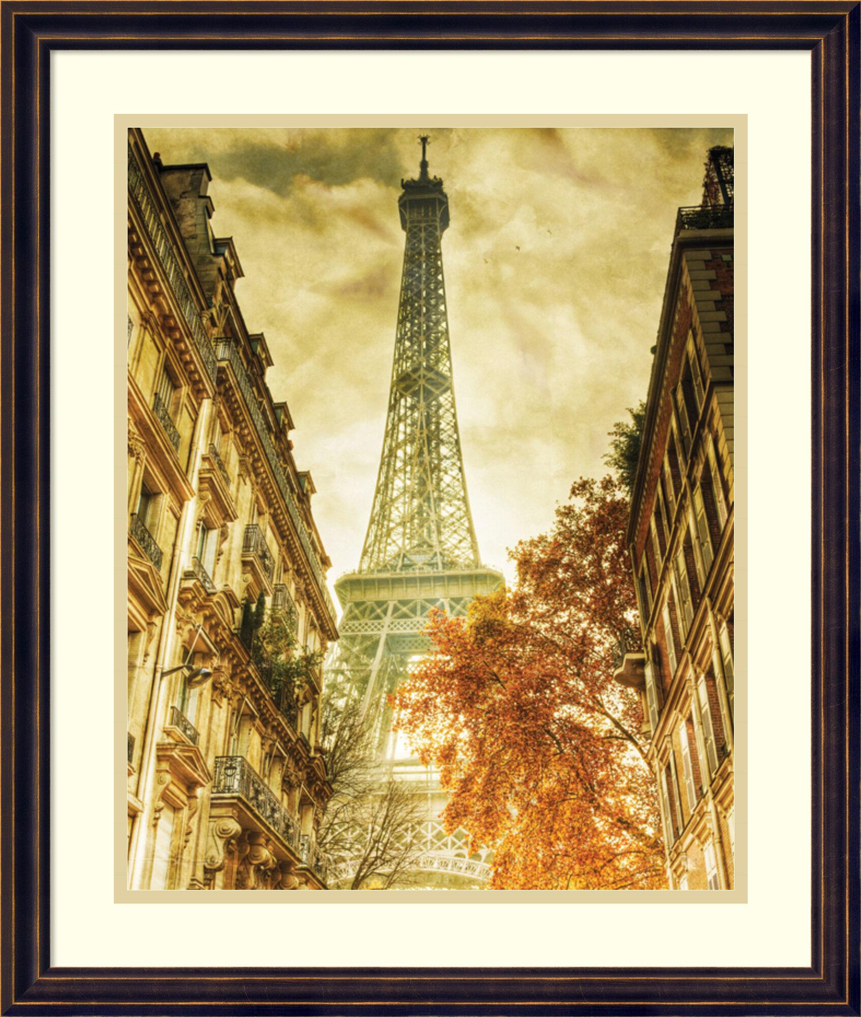 Charlton Home \'Vintage Eiffel Tower\' Framed Graphic Art Print | Wayfair