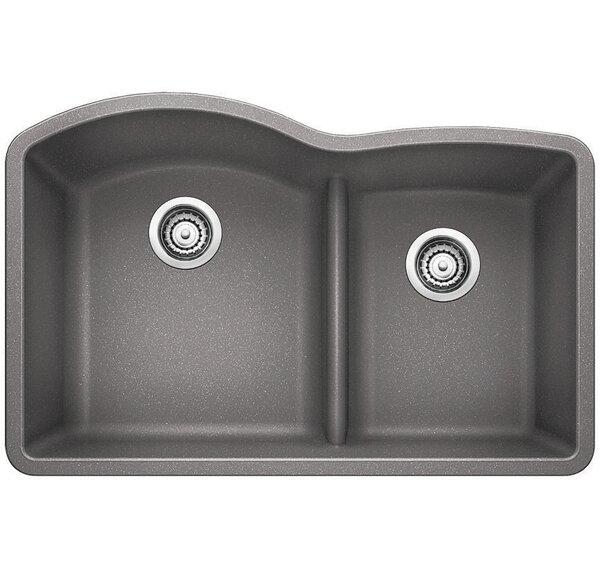 "White Undermount Kitchen Sinks blanco diamond 32"" x 20.88"" low divide undermount kitchen sink"