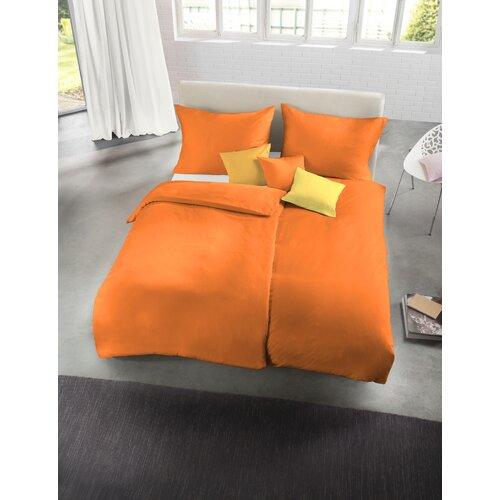 Bettwäsche-Set Mako Satin aus 100% Baumwolle Fleuresse Größe: 200 B x 200 L cm - 2 Kissen 80 x 80 cm| Farbe: Orange | Heimtextilien > Bettwäsche und Laken | Fleuresse