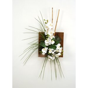 Silk Orchid, Bamboo and Grass Wall Arrangement in Wood Sushi Tray
