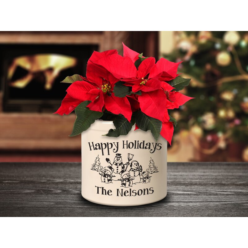 The Holiday Aisle Wooler Personalized Snowman Family Ceramic Pot Planter Wayfair