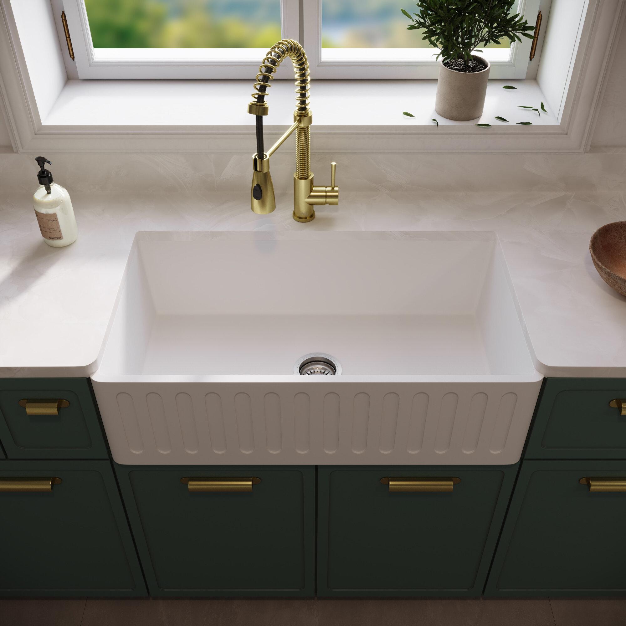 Picture of: Vigo Matte Stone 33 L X 18 W Farmhouse Apron Kitchen Sink With Basket Strainer Reviews Wayfair