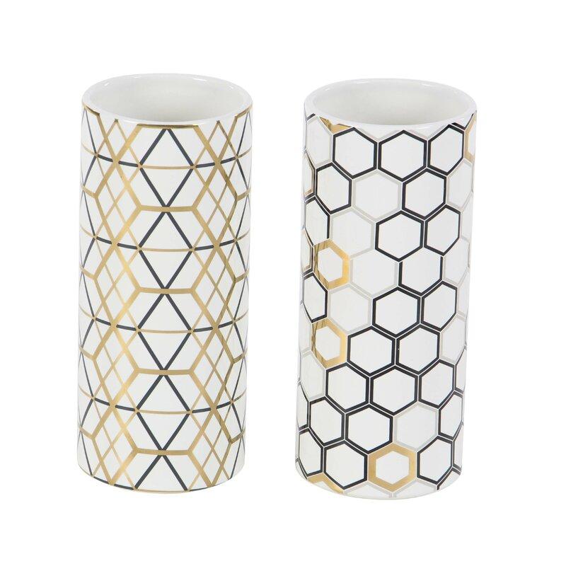 2 Piece Black/Gold/Gray Ceramic Table Vase Set