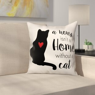 House Home Cat Throw Pillow in , Throw Pillow