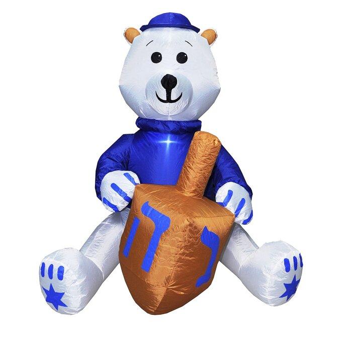 Bear With Dreidel Hanukkah Outdoor Decoration Inflatable