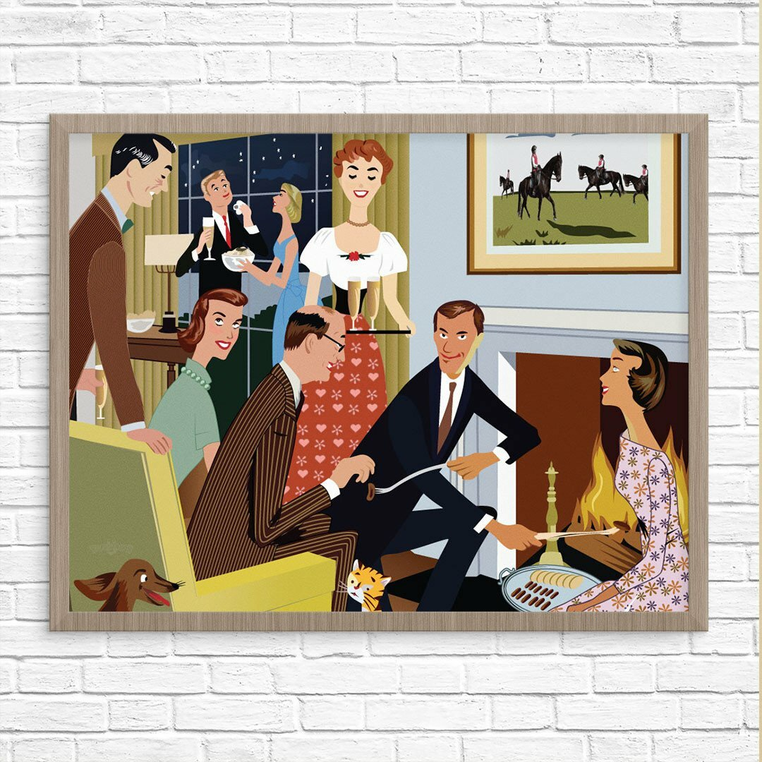 Proper Mid Century Modern Cocktail Party   Unframed Graphic Art