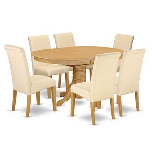 Park Row Oval Room Table 7 Piece Extendable Solid Wood Dining Set