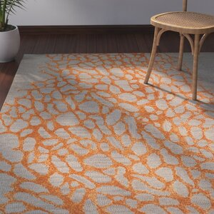 Morphou Hand-Hooked Gray/Orange Area Rug