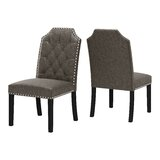 Pilou Tufted Upholstered Parsons Chair in Gray (Set of 2) by Canora Grey