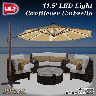 Red Barrel Studio Fiorentino Hanging Solar Powered 11.5' Cantilever Umbrella