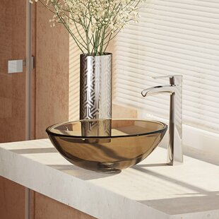 Compare & Buy Glass Circular Vessel Bathroom Sink with Faucet By René By Elkay