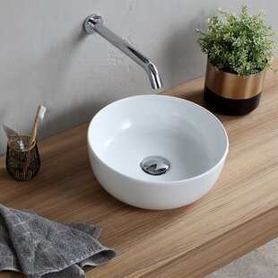 Scarabeo by Nameeks Round Ceramic Vessel Bathroom Sink with Overflow
