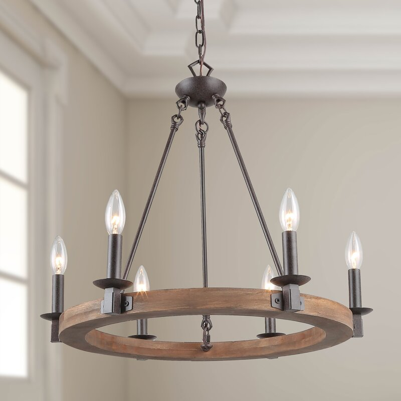 Gracie Oaks Flavio 6 Light Candle Style Wagon Wheel Chandelier Reviews Wayfair