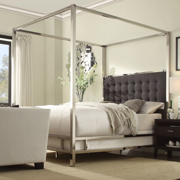 Canopybed mercer41™ upholstered canopy bed & reviews | wayfair