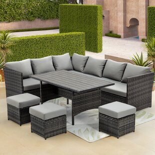 Patio Furniture Set Outdoor 7 Piece Rattan Sectional Seating Group With Dining Table