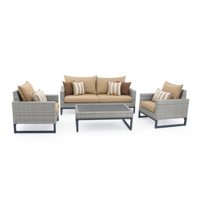 Tremendous Wade Logan Minor 4 Piece Rattan Sunbrella Sofa Set With Inzonedesignstudio Interior Chair Design Inzonedesignstudiocom
