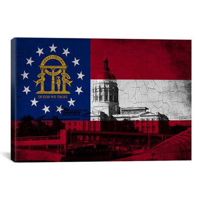 Georgia Flag Capital Grunge Vintage Map Graphic Art On Canvas Icanvas Size 40 H X 60 W X 15 D