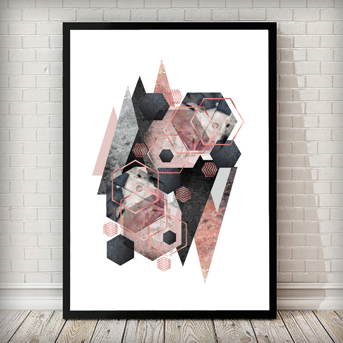East Urban Home Geometric Overload Charcoal Grey Blush Pink Marble Abstract Framed Graphic Art Print