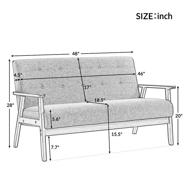 Orisfur. Modern Solid Loveseat Sofa Upholstered Pu Leather 2-seat Couch