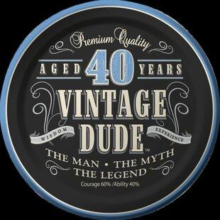Vintage Dude 40th Birthday Dessert Plates (Set of 8)