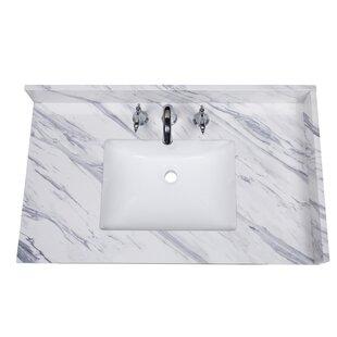 Price comparison Calacatta 37 Single Bathroom Vanity Top ByRenaissance Vanity
