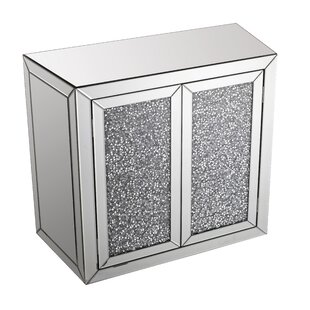 Best Quality Furniture 2 Door Crystal Mirrored Accent Cabinet