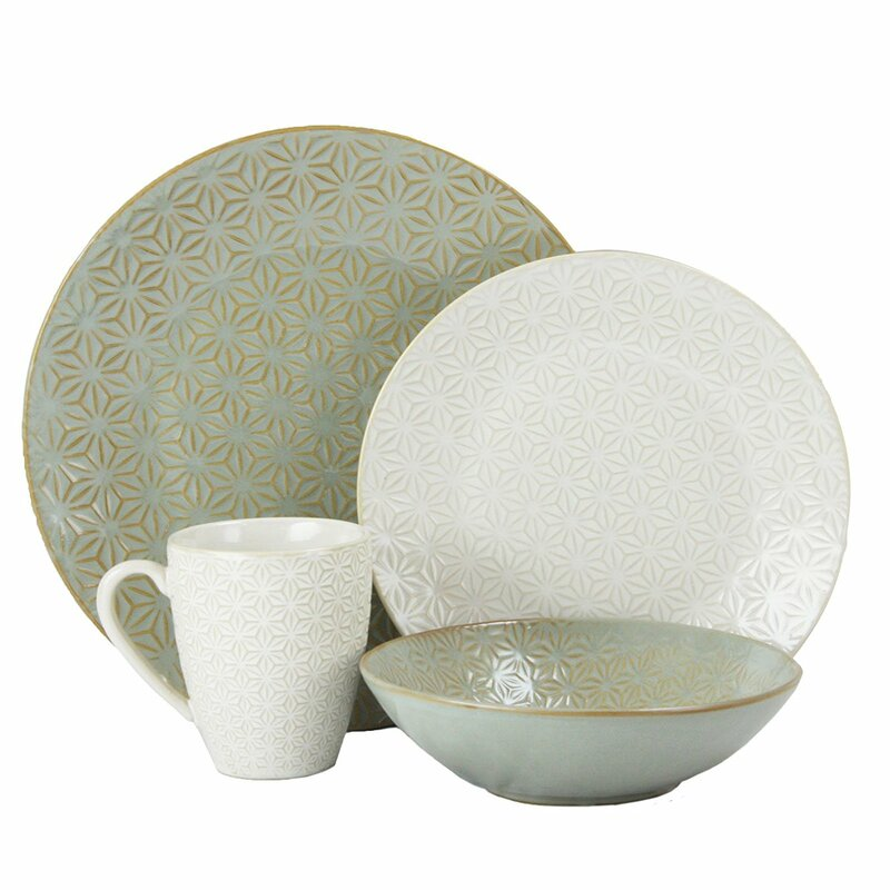 Terrace Signature Texture 4 Piece Place Setting Service for 1  sc 1 st  Wayfair & Elama Terrace Signature Texture 4 Piece Place Setting Service for 1 ...