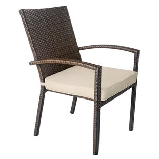 Stacking Patio Dining Chair with Cushion (Set of 4) by Jeco Inc.