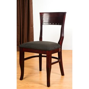 Tymon Genuine Leather Upholstered Dining Chair in Black Faux Leather (Set of 2)