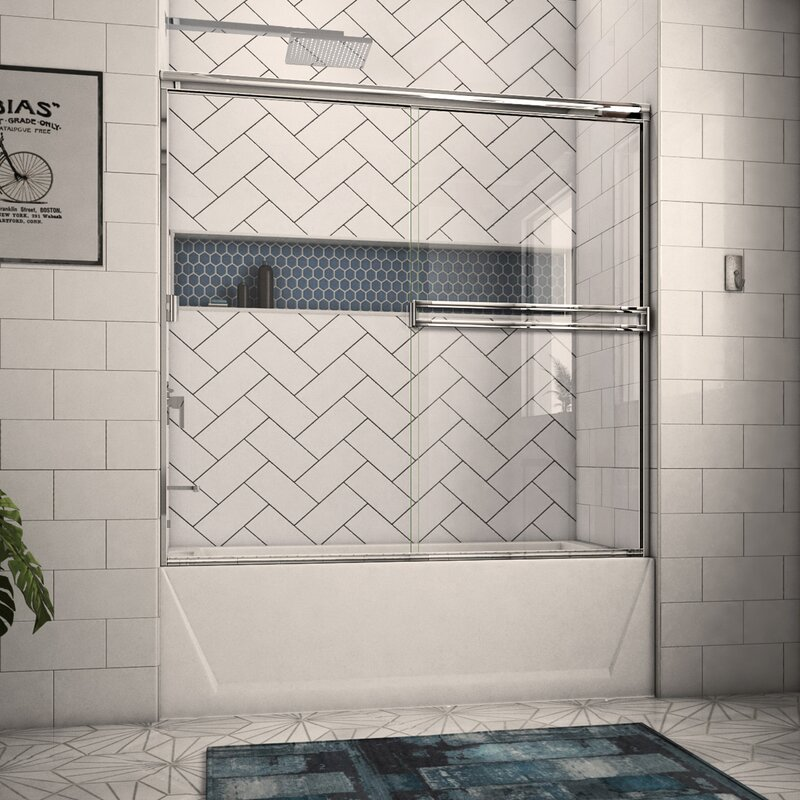 Arizona Shower Door 58 X 56 Bypass Semi Frameless Tub Door Wayfair