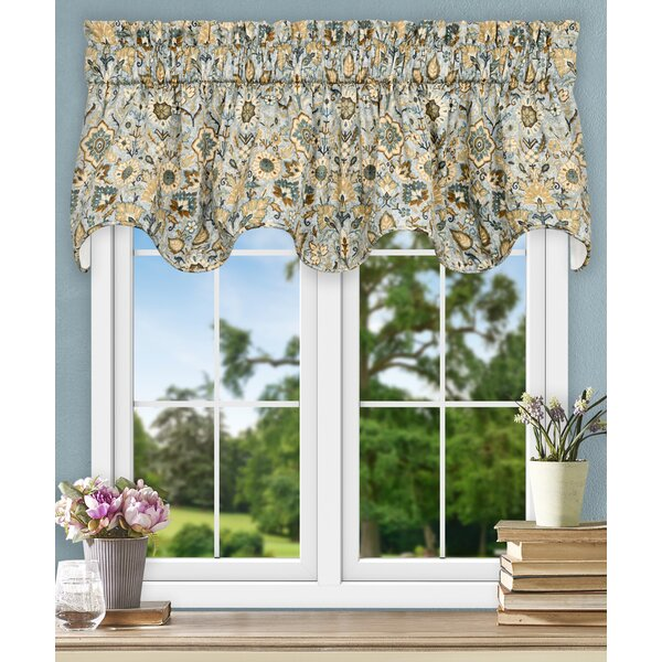 Ellis Curtain Adelle Jacobean Floral Lined Scallop 70
