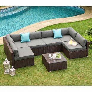 Bozman 7-Piece Outdoor Patio Furniture Chocolate Brown Wicker Sofa W Dark  Grey Cushions, Coffee Table, 2 Turquoise Pillows Incl. Waterproof Cover