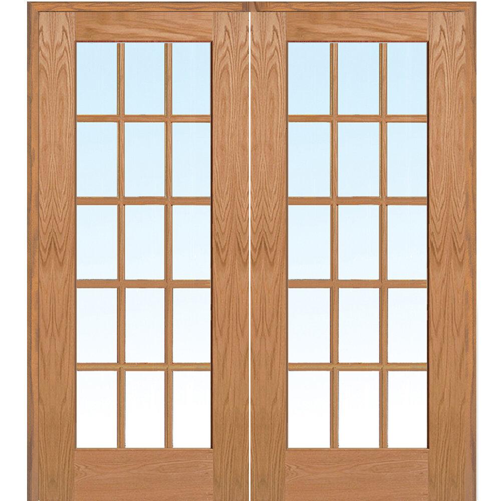 Verona Home Design Wood 2 Panel Red Oak Interior French Door Wayfair
