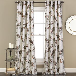 Carlo Room Darkening Animal Print Sheer Grommet Curtain Panels (Set of 2)