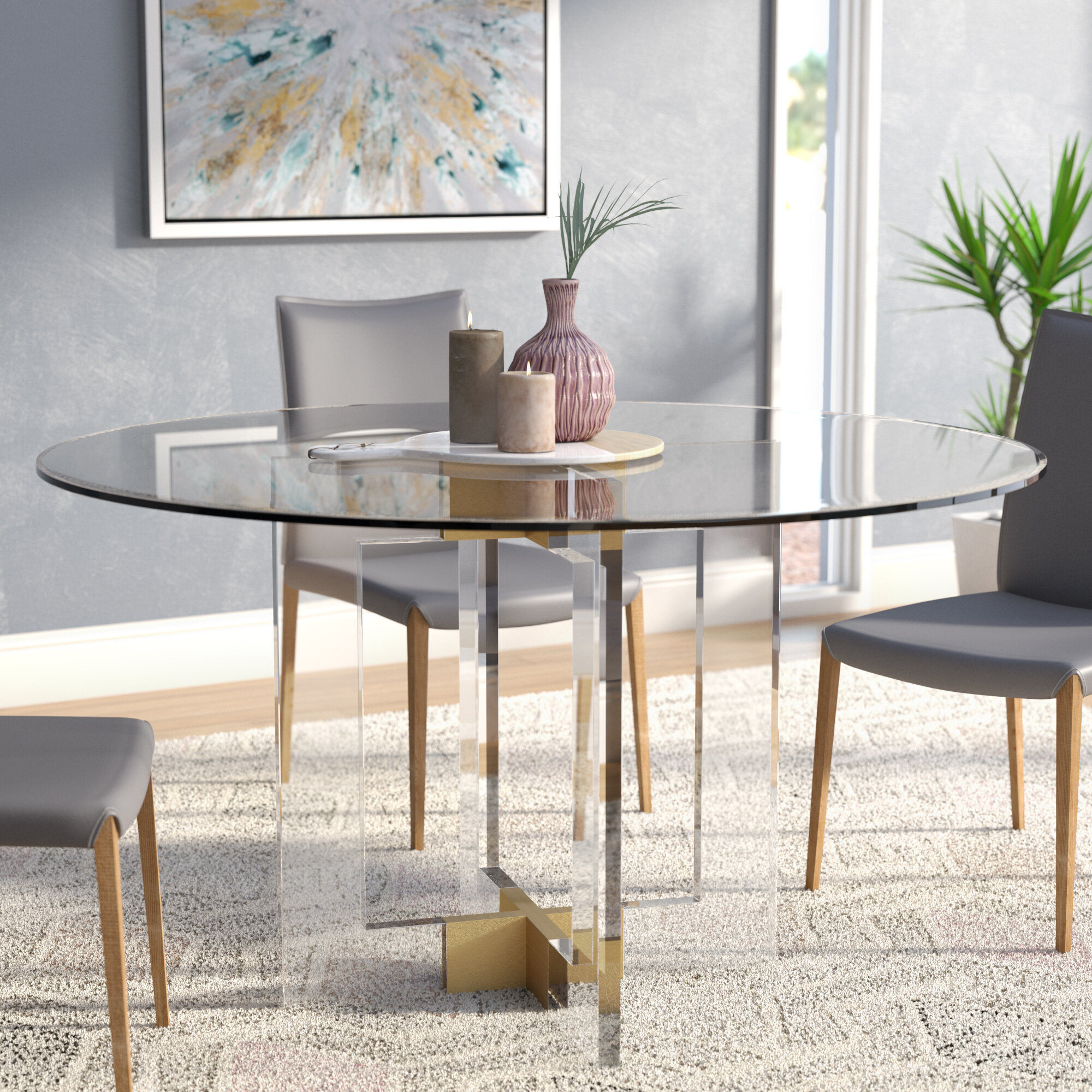 Willa Arlo Interiors Gosta Round Glass Dining Table Reviews