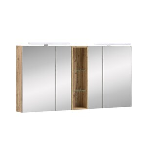Crear 141.6cm X 75cm Surface Mount Mirror Cabinet With LED Lighting By Ebern Designs