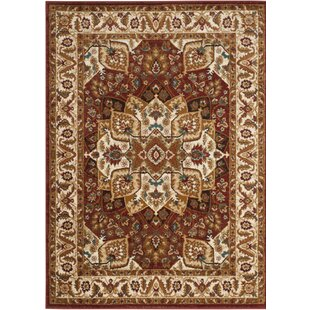 Compare prices Lowe Red/Ivory Area Rug ByCharlton Home