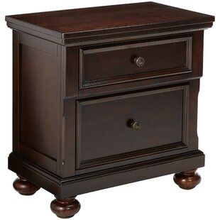 Lavinia Wood and Metal 2 Drawer Nightstand