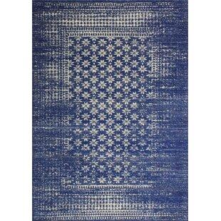 Woodrow Machine Woven Polypropylene Dark Blue Area Rug