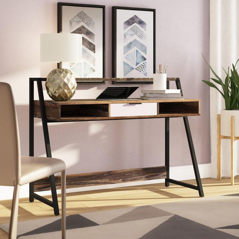 Wrought Studio Francesca Writing Desk With Hutch Reviews Wayfair