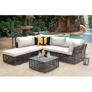 6 Piece Rattan Sunbrella Sectional Set with Cushion