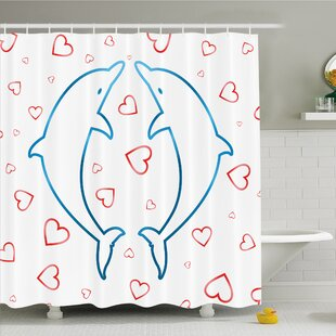 Sea Animals Dolphins with Heart Ornaments Romance Love Happiness in Ocean Shower Curtain Set By Ambesonne