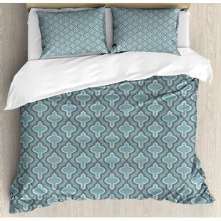 Turquoise Oriental Moroccan Style Ethnic Shapes Rounds in Symmetic Order Duvet Set by Ambesonne