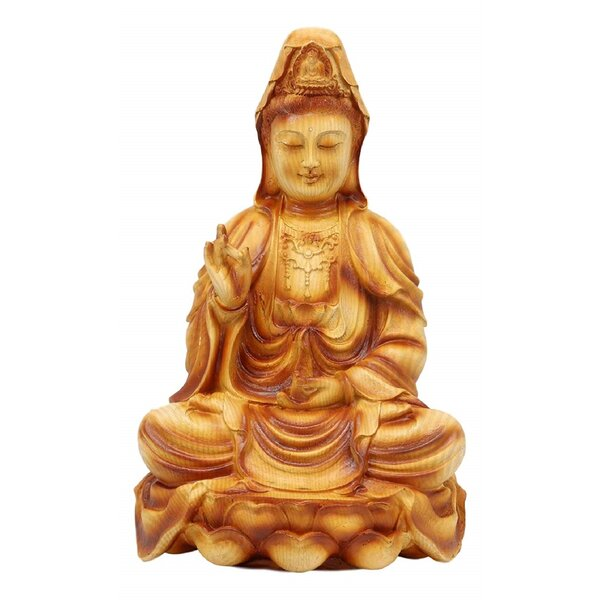 """1.6/"""" Chinese Buddhism Bronze Sit Kwan-yin Goddess Guan Yin Small Statue Pendant"""