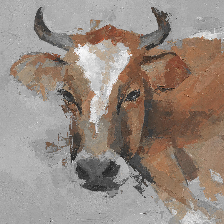August Grove Big Brown Cow By Parvez Taj Wrapped Canvas Painting Print Wayfair
